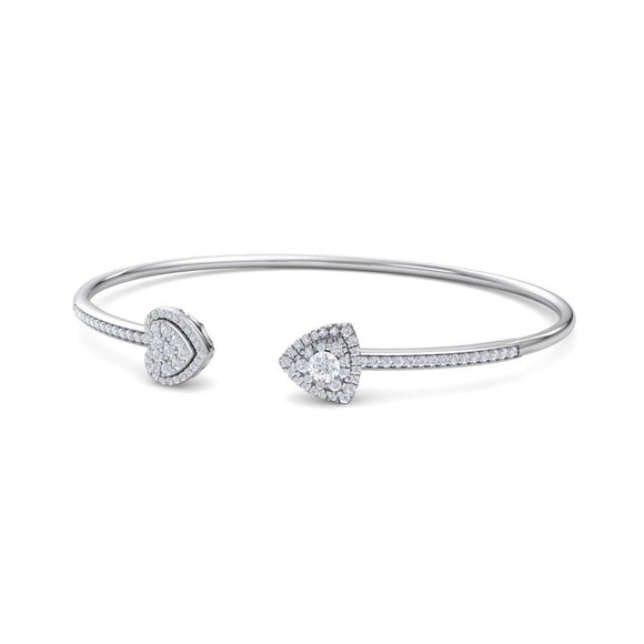 14K WG HEART & ARROW WOMEN'S FANCY DIAMOND OPEN BANGLE-0.47CT