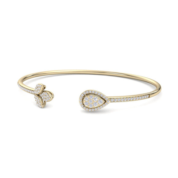 14K YG WOMEN'S FANCY DIAMOND OPEN BANGLE-0.53CT