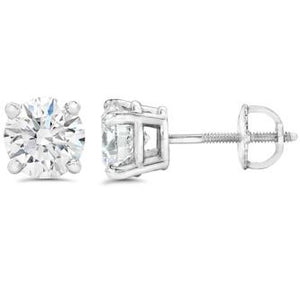 14K WG DIAMOND STUDS ROUND BRILLIANT- 0.50CT
