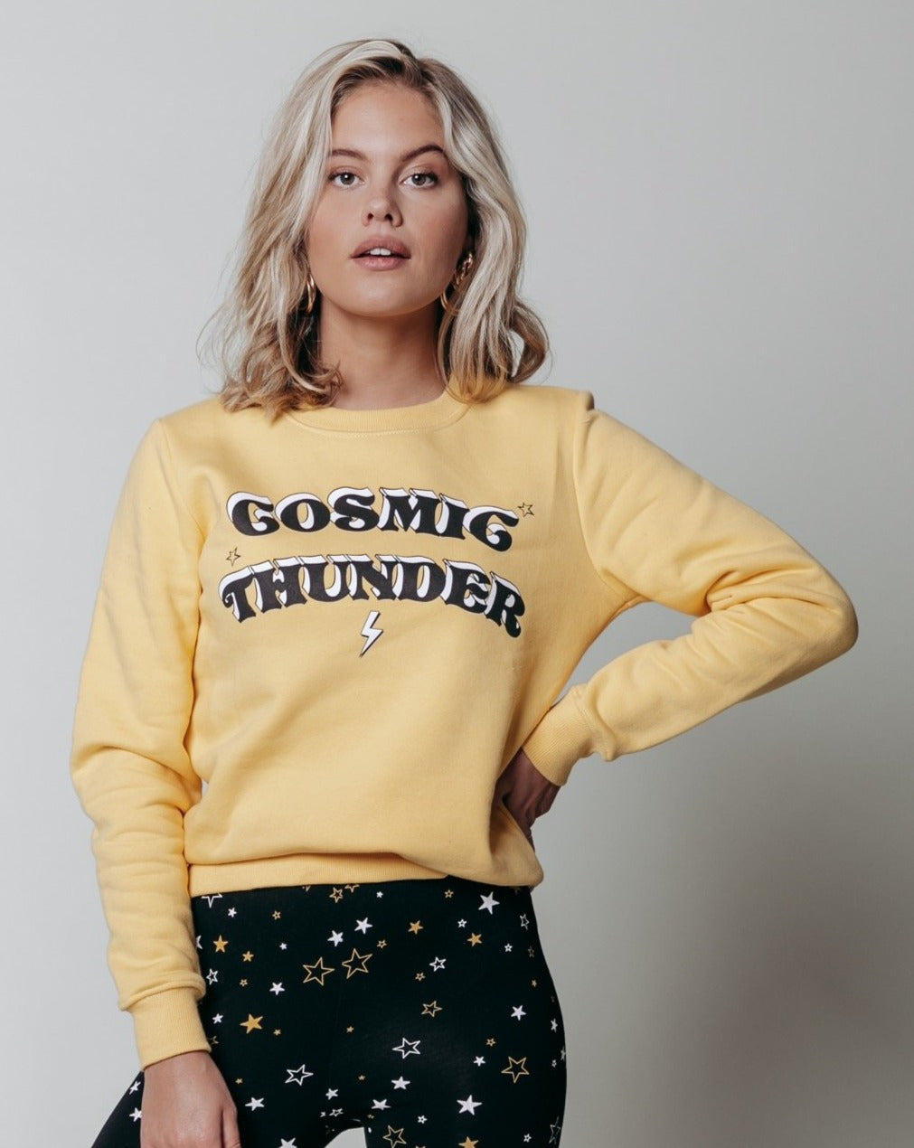 COSMIC THUNDER BASIC SWEAT WOMEN YELLOW