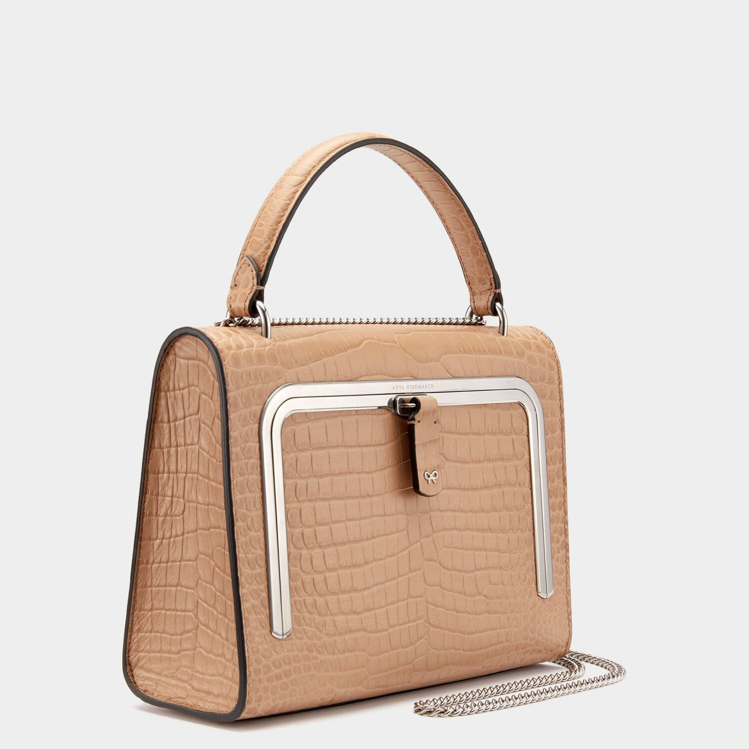 Crocodile-Print Small Postbox Bag