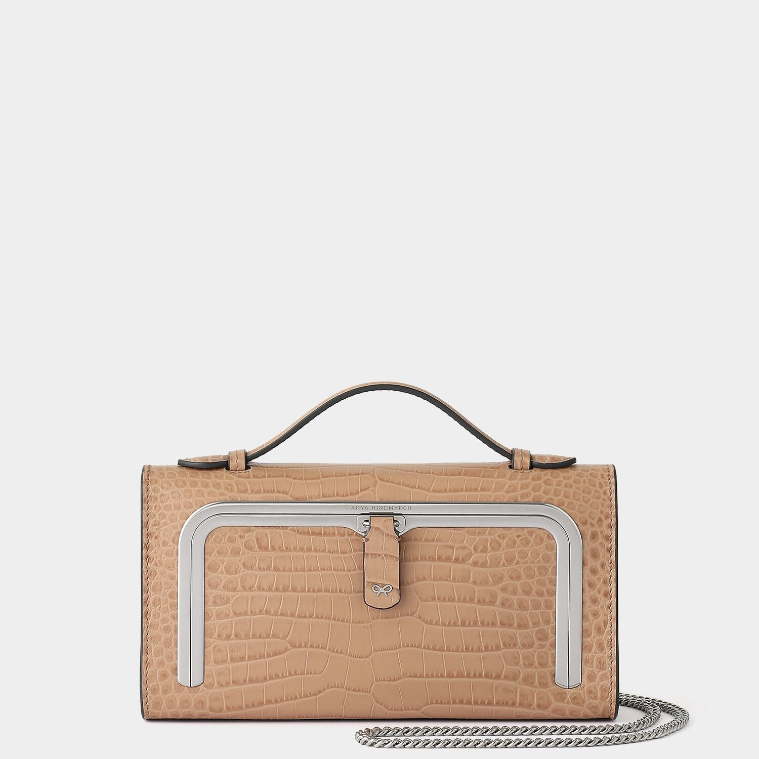 Crocodile-Print Mini Postbox Bag