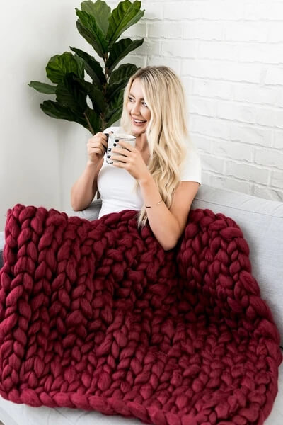 Chunky Hand Knitted Blanket Winter Yarn Large Blanket, Chunky Throw, Thick Knit Blanket | Teal Hut
