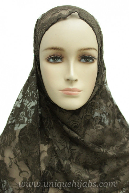 Lace Hijab Accent-Brown