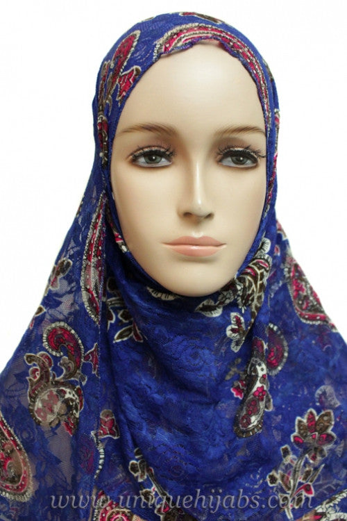 Lace Hijab Paisley-Royal Blue