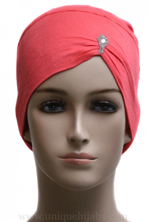 Jewel Pleat Bonnet-Coral