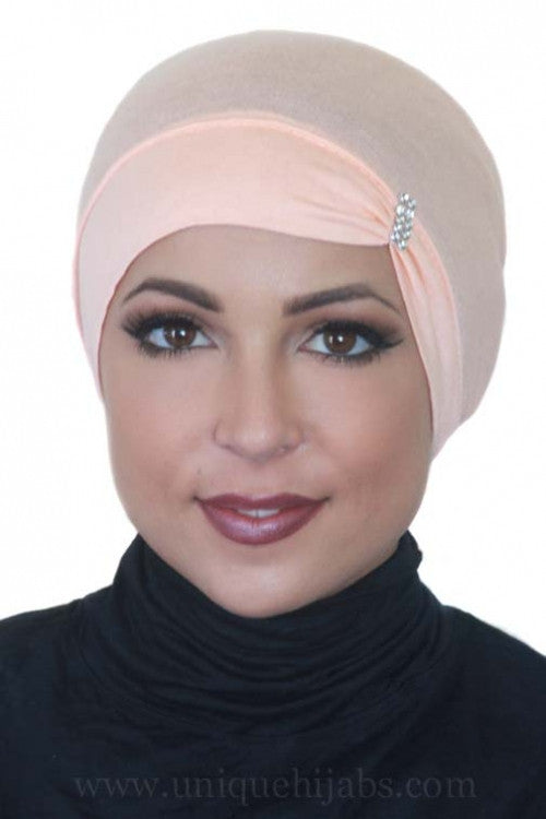 Tube Underscarf Jewel Pleat-Peach