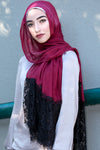 Lace And Pearl Edge Light Hijab-Maroon