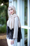 Lace And Pearl Edge Light Hijab-Tan