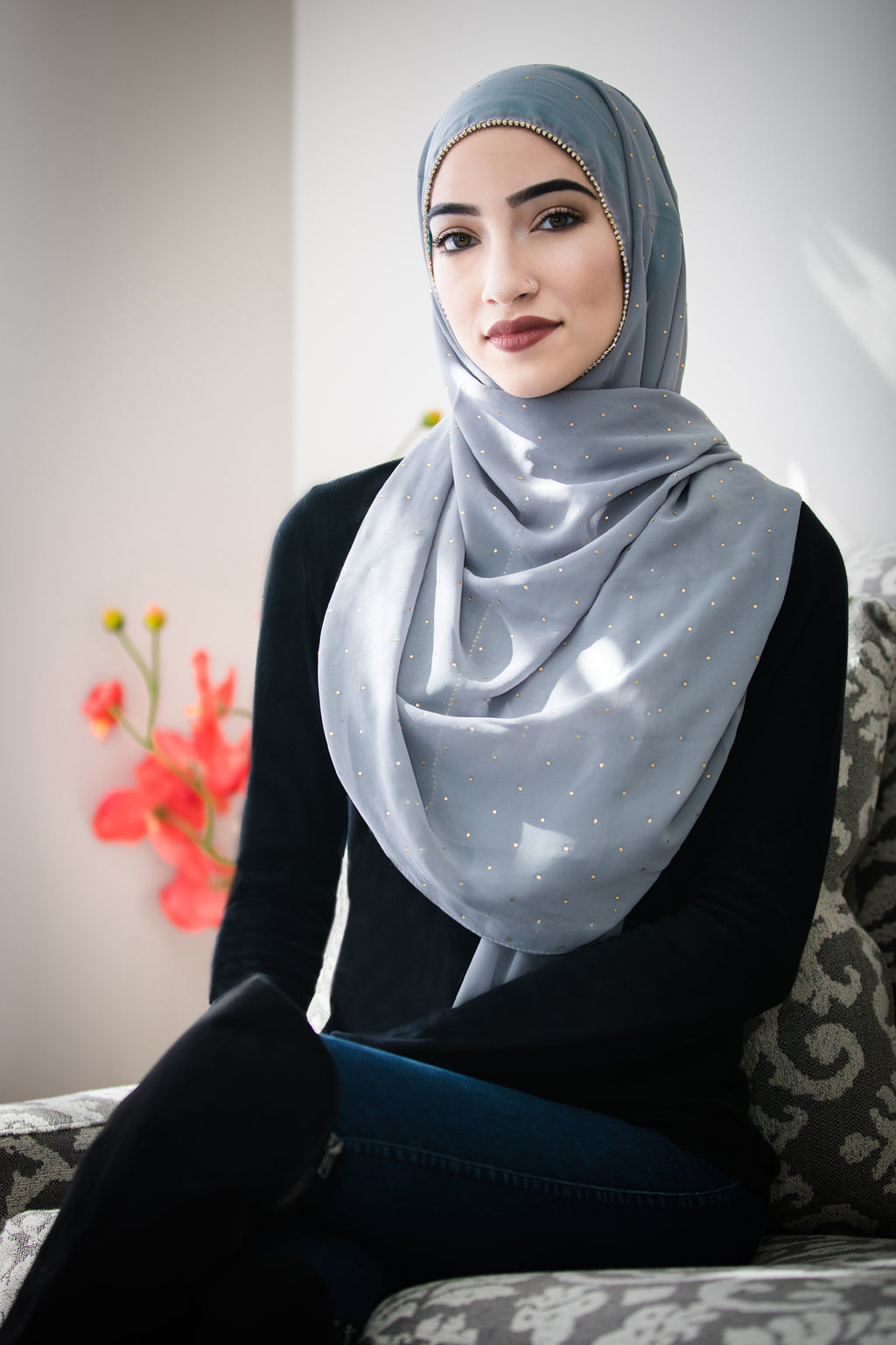 Stone Edge Chiffon Hijab-Light Gray
