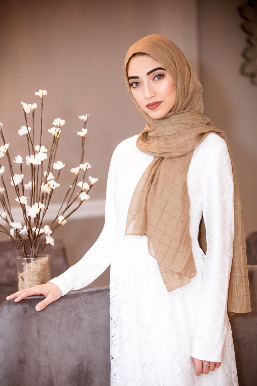 All Boxed Up Light Hijab-Tan