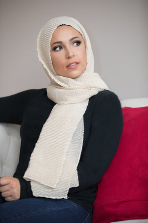 Pleated Light Hijab-Beige