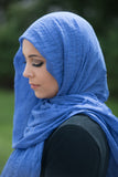 Premium Cotton Light Hijab-Royal Blue