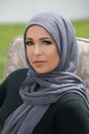 Premium Cotton Light Hijab-Dark Gray