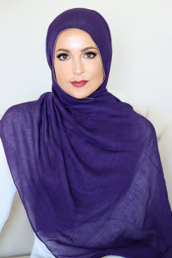 Gold Edge Hijab-Dark Purple