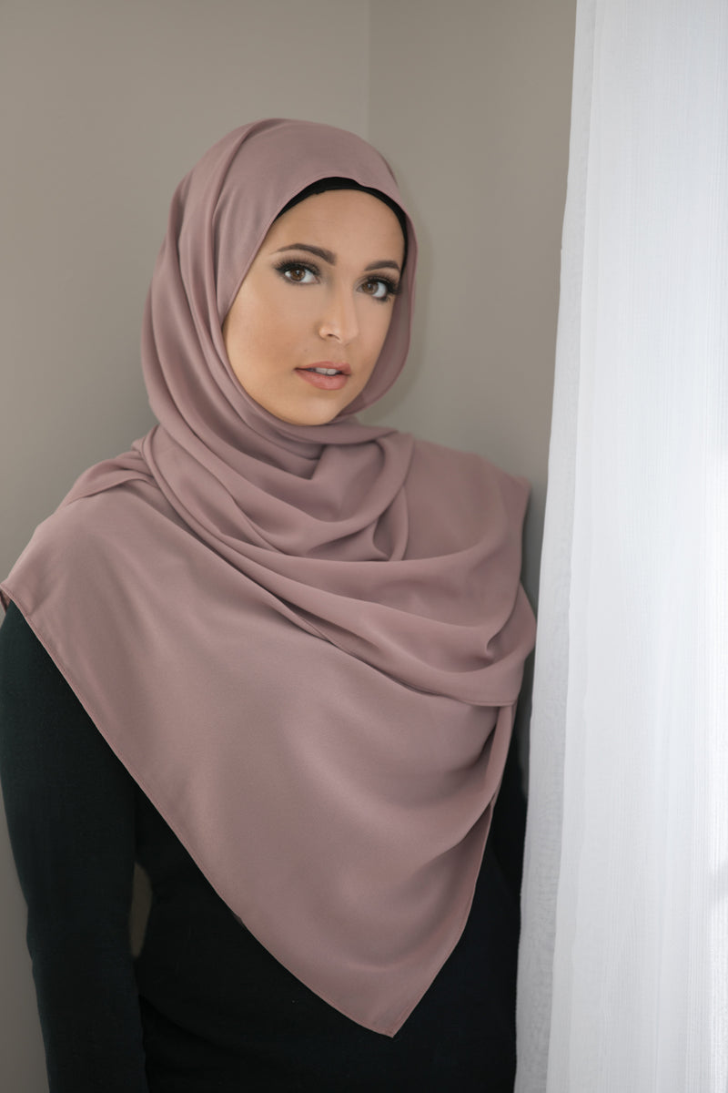 Basic Size Chiffon Hijab-Dusty Rose