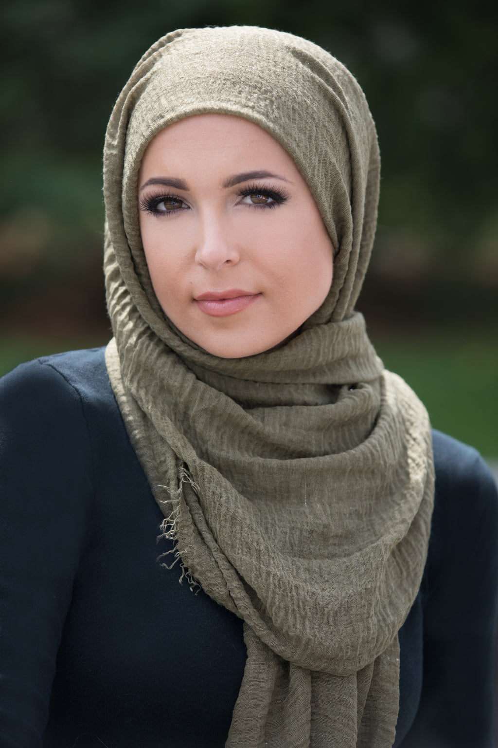 Premium Cotton Light Hijab-Olive