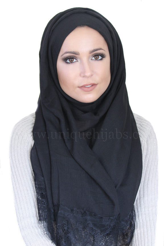 Lace Edge Light Hijab-Black