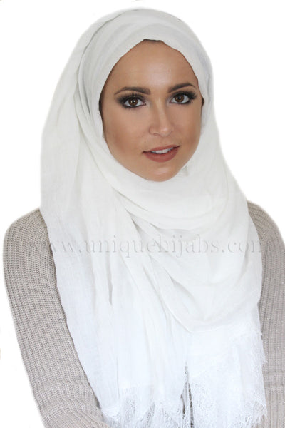 Lace Edge Light Hijab-White