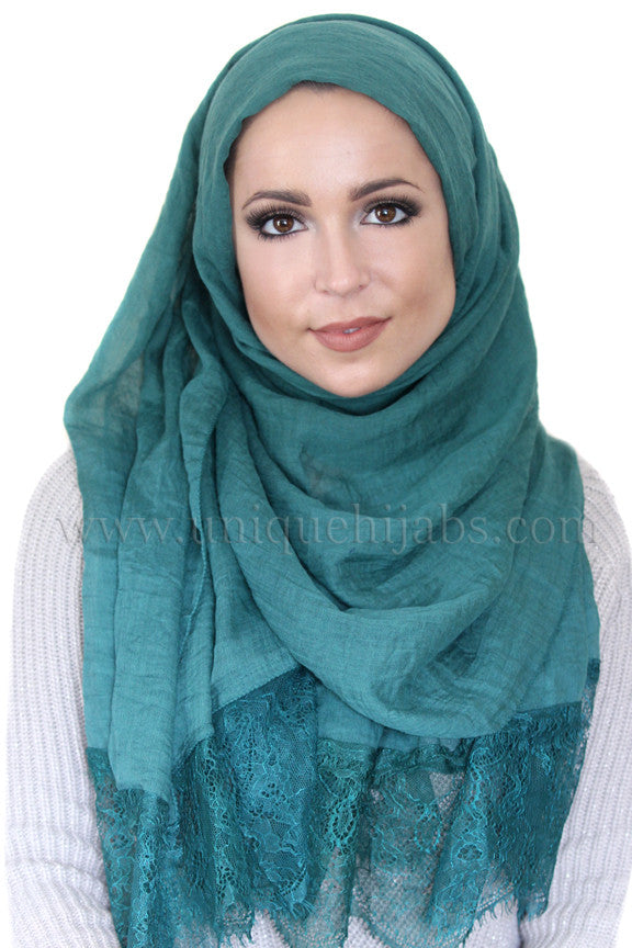 Lace Edge Light Hijab-Green