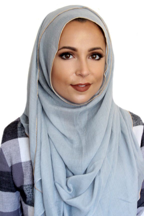 Gold Edge Hijab-Gray