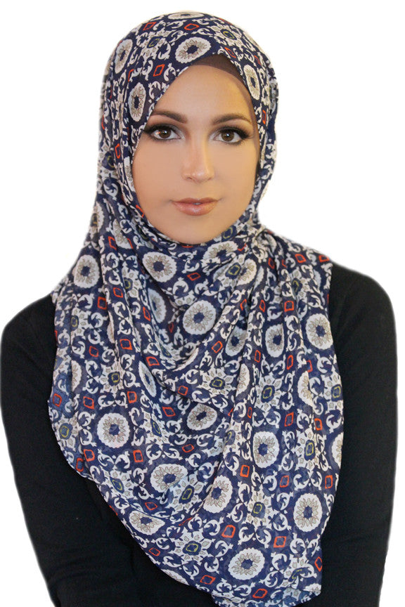 Retro Sole Chiffon Hijab-Navy