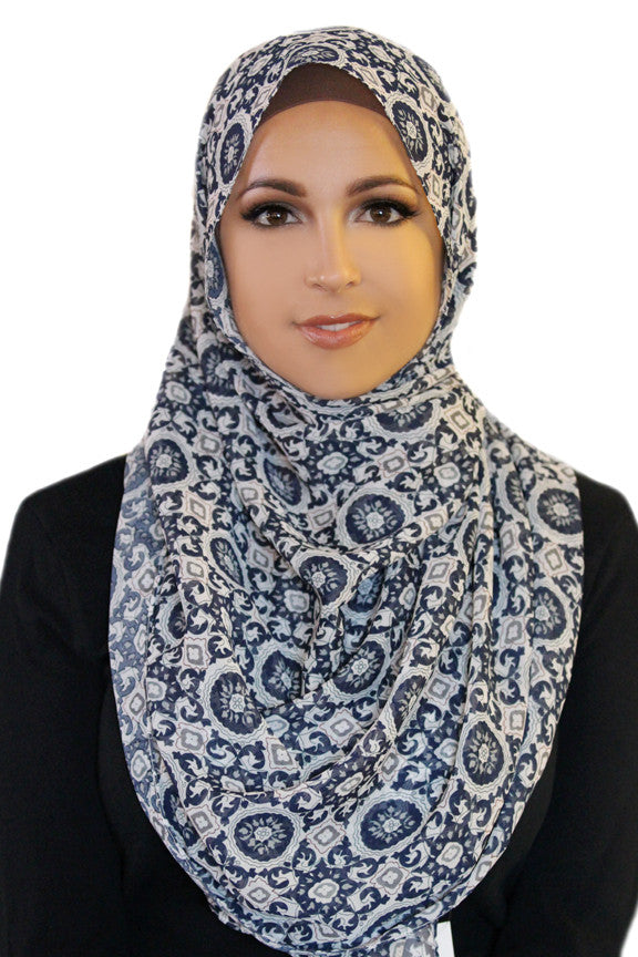 Retro Sole Chiffon Hijab-Navy Gray