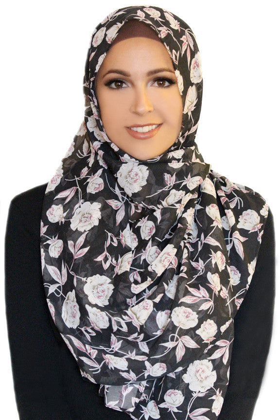 Cosmic Flower Chiffon Hijab-Black
