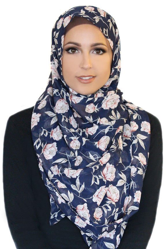 Cosmic Flower Chiffon Hijab-BLUE