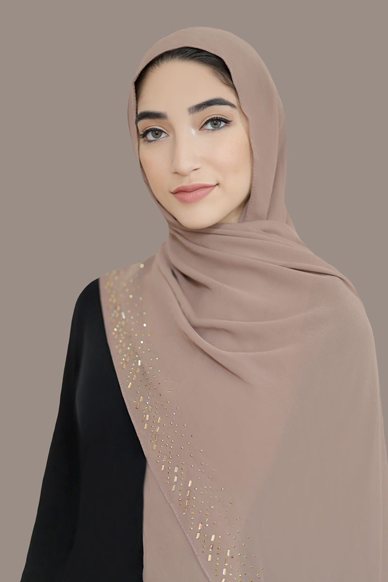 Stone Border Chiffon Hijab-Dusty Rose