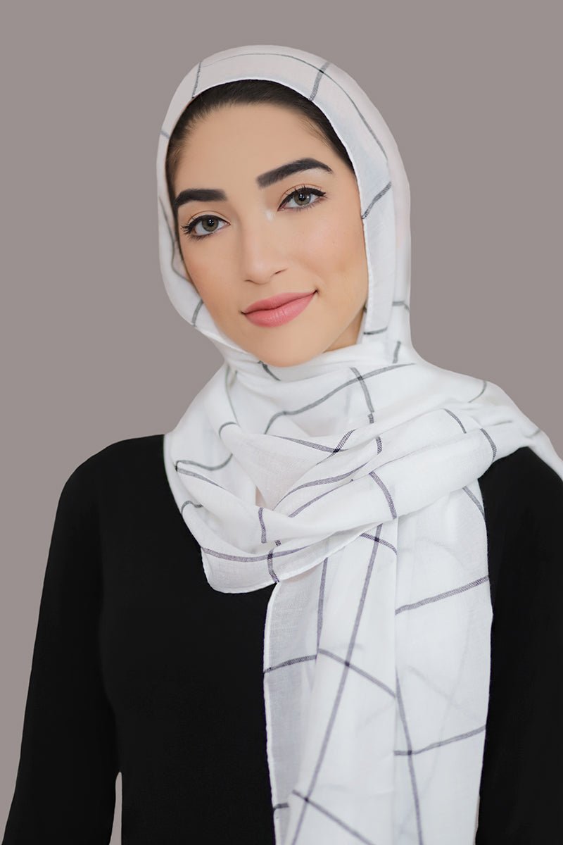 Check Print Light Hijab-White