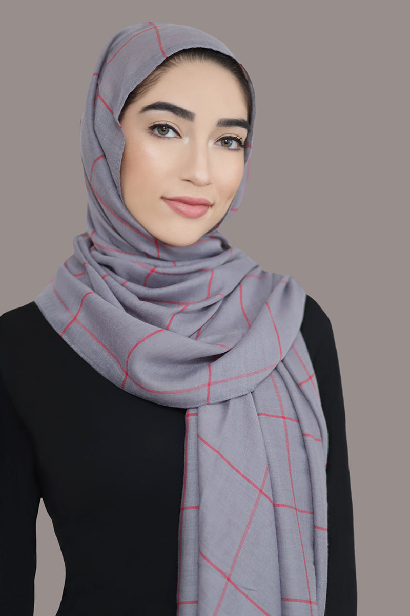 Check Print Light Hijab-Light Gray