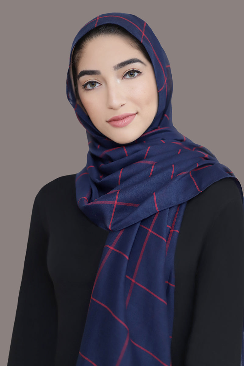 Check Print Light Hijab-Navy