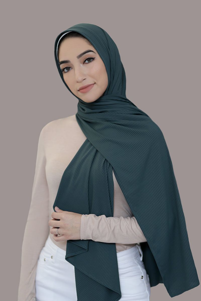 Ribbed Jersey Hijab-Emerald