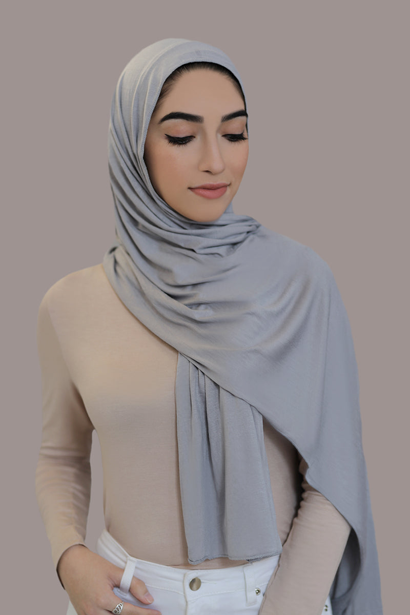 Small Jersey Hijab-Light Gray