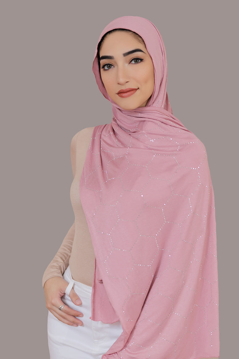 Silver Studded Jersey Hijab-Rose Pink