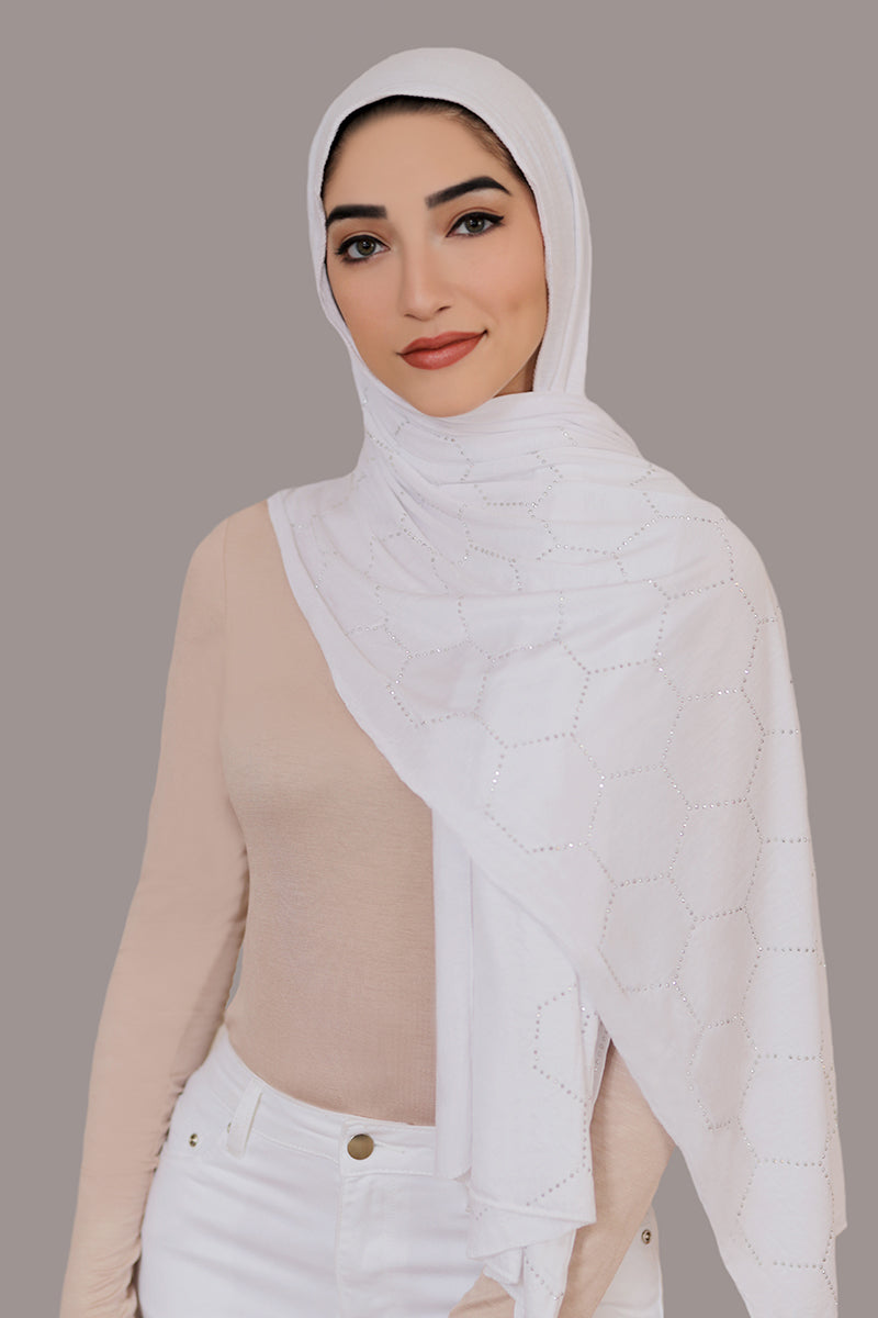 Silver Studded Jersey Hijab-White