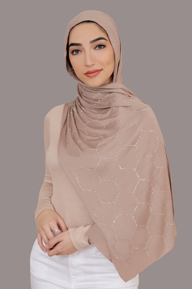 Silver Studded Jersey Hijab-Light Tan