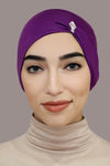 Jewel Pleat Bonnet-Dark Purple