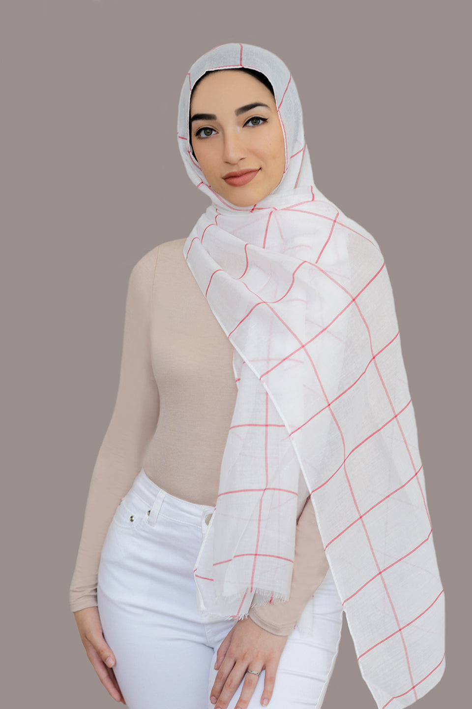 Check Print Light Hijab-White Red