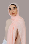Shimmer Lines Embroidered Hijab-Peach