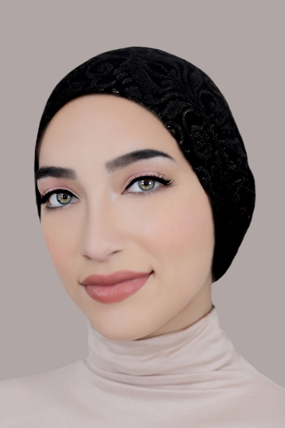 Black and Gold Metallic Shimmer Hijab Cap