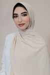 Ribbed Jersey Hijab-Cream