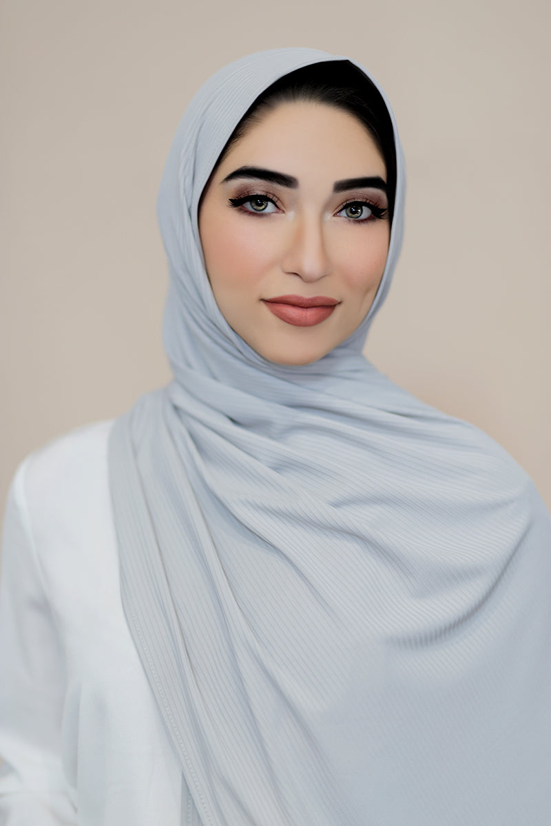Ribbed Jersey Hijab-Grey