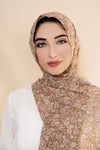 Wildflower Chiffon Hijab-Tan