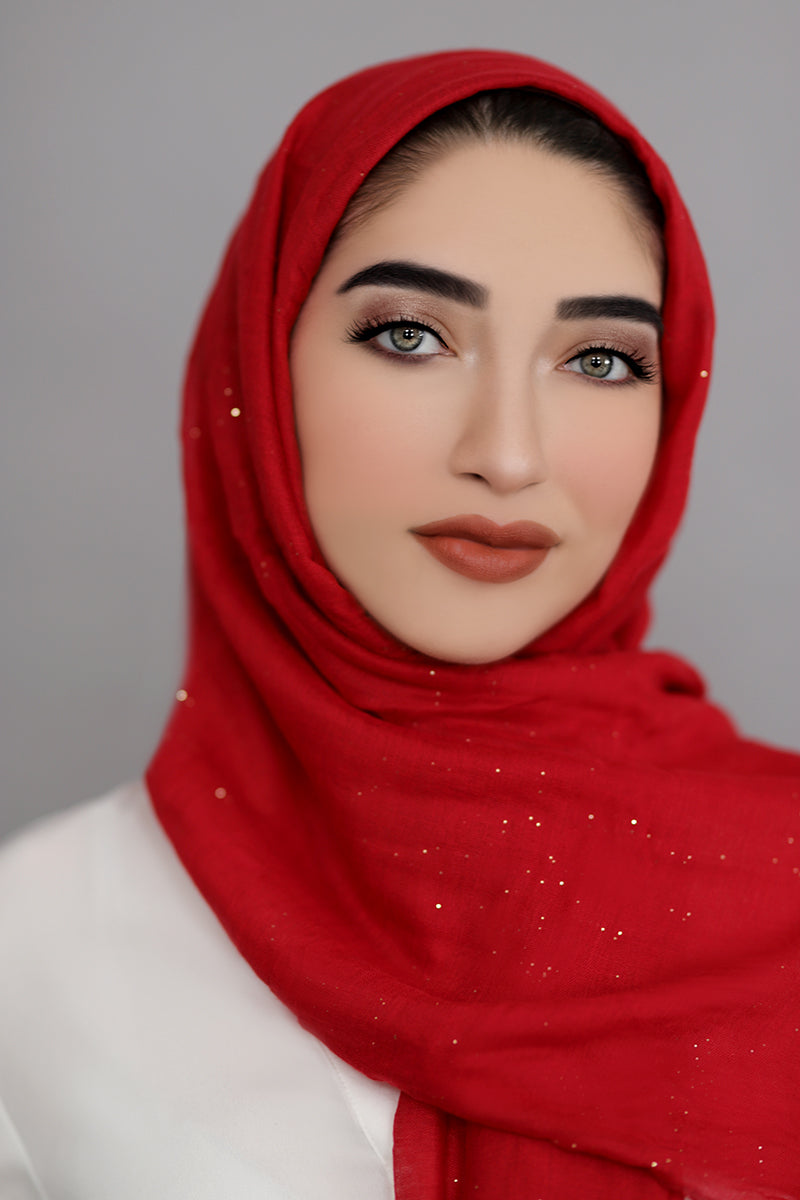 Gold Dust Light Hijab-Red