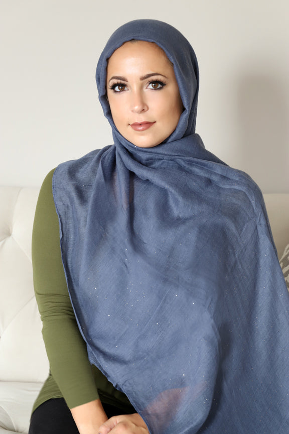 Gold Dust Light Hijab-Dark Gray