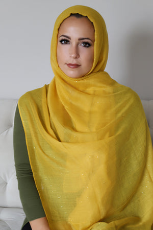 Gold Dust Light Hijab-Mustard