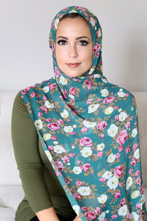 Georgette Hijab Floral-Turquoise