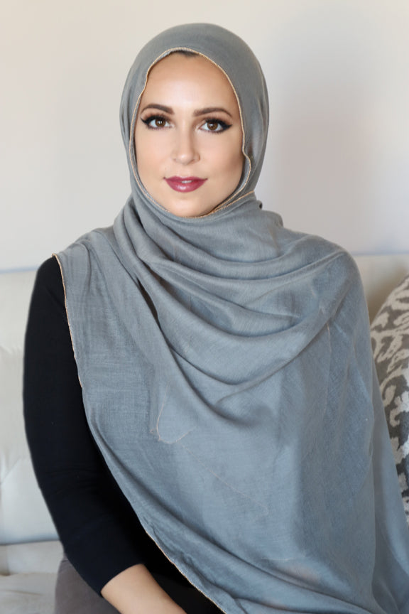 Gold Edge Hijab-Dark Gray